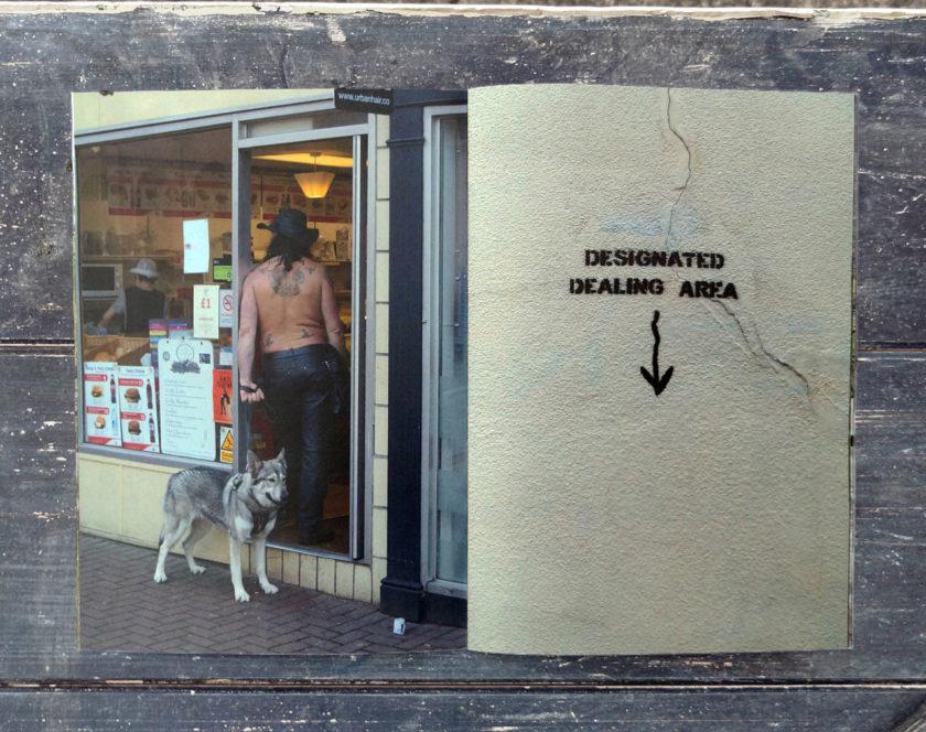 cambridge junc photozine spread man, dog and dealer graffiti